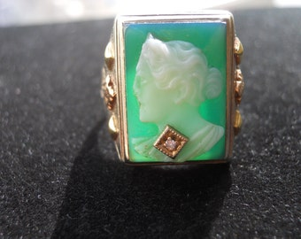 Beautiful Estate Green Cameo and Diamond Ring  Size 10