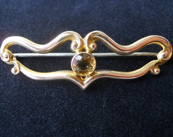 Gorgeous Gold and Citrine Pin
