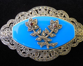Large Turquoise Glass, Marcasite, Garnet Brooch/Pin