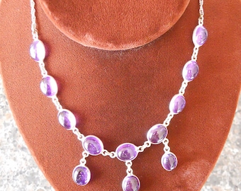 Sterling Silver Cabachon Amethyst Necklace