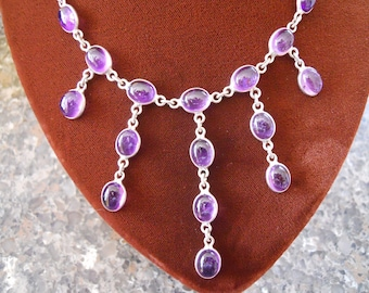 Sterling Silver and Amethyst Cabachon Necklace