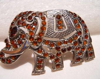 Vintage Marcasite and Garnet Elephant Brooch