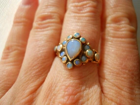 RESERVED for Eva Gold Opal Estate Ring & earrings