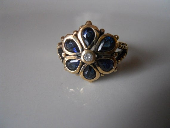 Reserved for Paul Antique  Gold Blue Sapphire and Diamond Flower Ring
