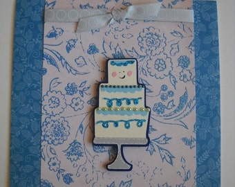 Wedding Card, Wedding Cake Card, Tiered Cake, Handmade Wedding Card,  Congrats Card,  Congratulations Card, Blue and Cream