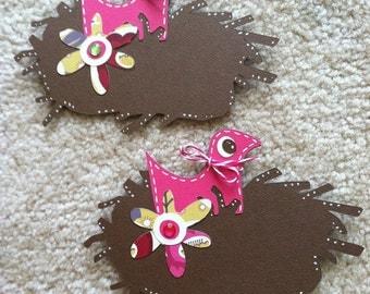 Bird Die Cuts, Nest Die Cuts, Pink Bird Scrapbooking, Bird Nest Scrapbooking Embellishment Die Cut 2 pc