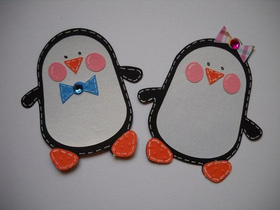 Penguin Die Cut, Penguin Scrapbooking, Winter Die Cut, Penguin Embellishments 2 pc