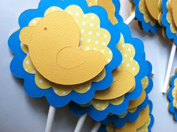 Rubber Ducky, Duck Baby Shower, Rubber Ducky Baby Shower, Rubber Duck Cupcake Toppers 12 pc Bright Blue and Yellow Polka Dot READY TO SHIP