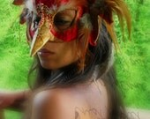 Phoenix Masquerade Mask 02- FIRE - FREE Feather Hair Extension