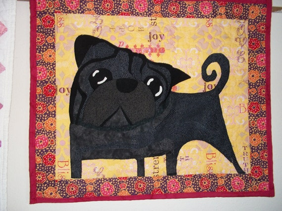 Pug carricature wall hanging