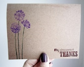 Rustic Kraft Thank You Card Hand Stamped Dandelion 2 colors - Weddings - Showers - Graduation Gifts - Just Because