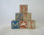 Antique Wood Alphabet Blocks - Vintage Blocks - Animal Blocks - 1950s - Childrens Blocks - Home Decor