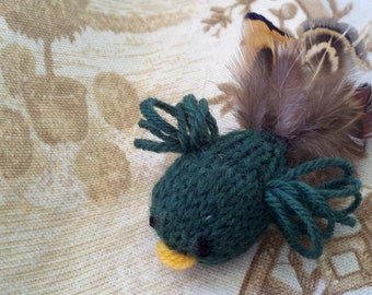 PATTERN: Tiny Knitted Bird with Real Feathers