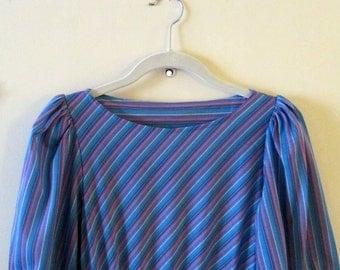 Diagonal-Striped Dress S 32-35 Bust 22-30 Waist