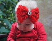 SALE Baby Headband- Toddler Headband- Red Christmas Bow