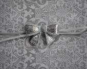 SALE Silver Bow Baby Headband- Toddler Headband- silver headband
