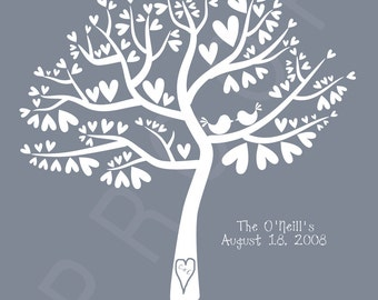 Personalized Wedding Love Birds Silhouette - Birds in a Heart Tree 11x14 Print