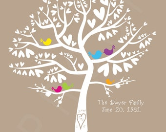 Wedding Love Birds Colour Pop Silhouette Family Tree - Personalized Birds in a Heart Tree 8x10 Print