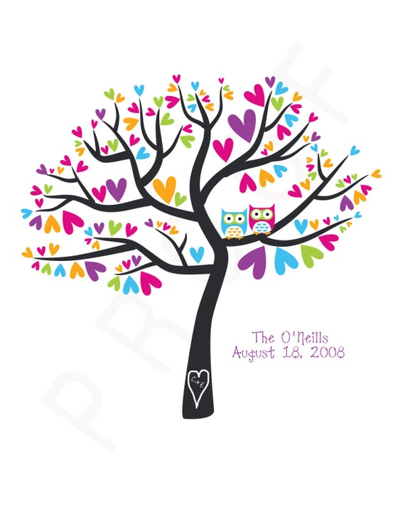 Personalized Wedding Anniversary Gift Family Tree - Owls in a Heart Tree  8x10 Print