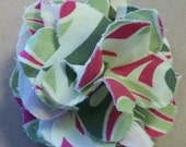 Scrap Flower Pin: Hand-Sewn Hot Pink, Cream & Green Patterned Fabric Layers Brooch/Pin RESERVED LISTING