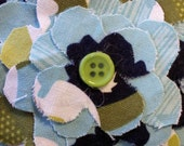 Fabric Flower Pin: Blues, Greens, & White Floral Print Fabric Layered Pin/Brooch RESERVED LISTING