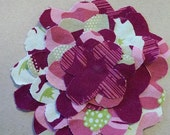 Shabby Flower Pin: Pink, Green, White,Tan Scrap Fabric Flower RESERVED LISTING