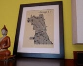 Chicago Illinois Map Art Print, 12 x 16