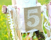 AGE or INITIAL BIRTHDAY banner (burlap & lace)
