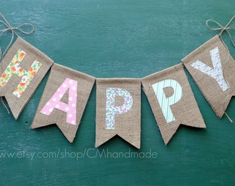 HAPPY burlap banner