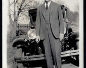 Photographers SHADOW w Dapper well dressed Man in suit hat by old ANTIQUE CAR  Vintage Photo