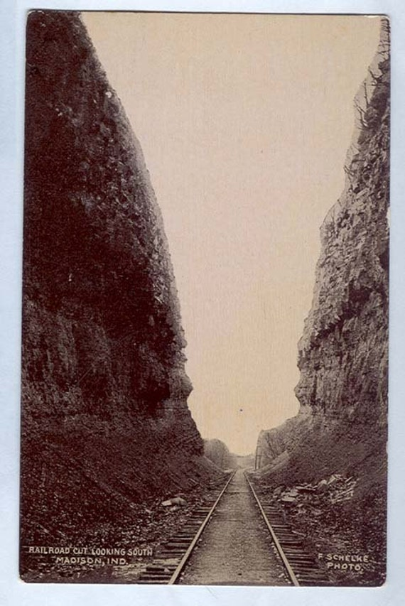 MADISON IN. Railroad cut looking south Schelke photo POSTCARD printed  Train Track thru mountains
