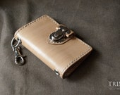 Maple Wood pattern leather Key Pouch