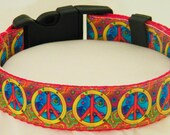 Stylish Designer Colorful Psychedelic Peace Signs Exclusive Dog Collar Size ALL SIZES