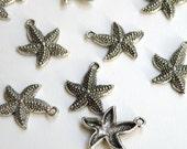 10 Starfish Charms antique silver 23x19mm DB03168