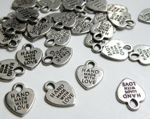 20 Heart charms Hand Made with Love engraved Antique Silver 12x16mm CC1975-79