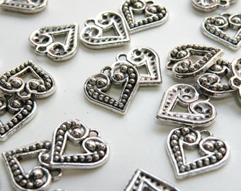 10 Heart charms with dots antique silver 17x18mm 8726FX
