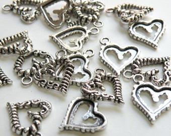 10 Fancy scroll heart charms antique silver 17x18mm 8719FX