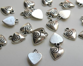 10 Heart with swirl spiral charm antique silver 14x11mm PLF0576Y