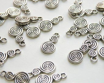 10 Spiral S charms antique silver 14x8mm 8783FX