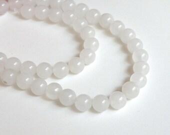 Natural white snow quartz gemstone round 8mm full strand 4063GS