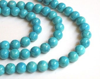 Riverstone beads in turquoise blue round gemstone 8mm full strand 9448GS