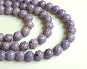Riverstone beads in light purple lavender round gemstone 8mm full strand 9449GS