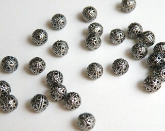 20 Filigree round spacer beads antique silver plated brass 6mm 8244MB