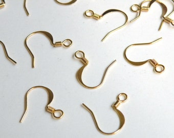 50 French Hook Earrings gold plated brass fishhook flattened earwires with coil 17mm 22 gauge A5202FN