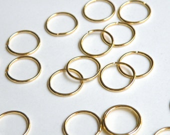 50 Jump Rings round open shiny gold plated brass 12mm 18 gauge A4941FN