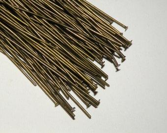 100 Head pins 2 inch or 50mm 21 gauge antique bronze DB13055