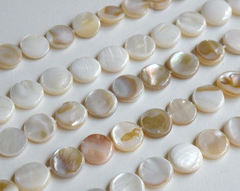Natural Mother of Pearl shell coin beads 10-11mm full strand 1695CX