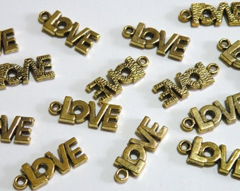 10 LOVE charms antique gold 17x8mm 1990FX