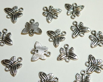 10 Sweet Butterfly charm connector links antique silver 14x14mm DB02047