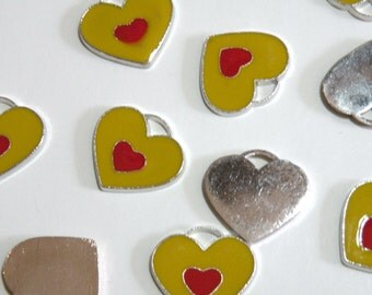 10 Yellow enamel heart charms with red center 20x22mm silver finish FCW18989
